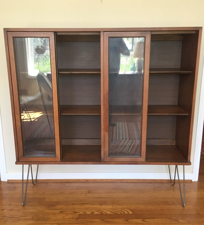 mid century modern walnut display cabinet by Stanley