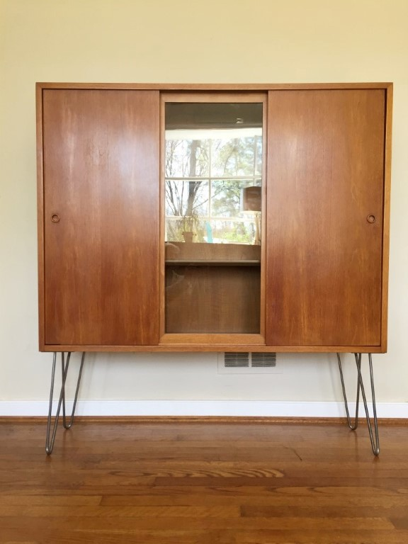 mid century modern sliding door display cabinet storage