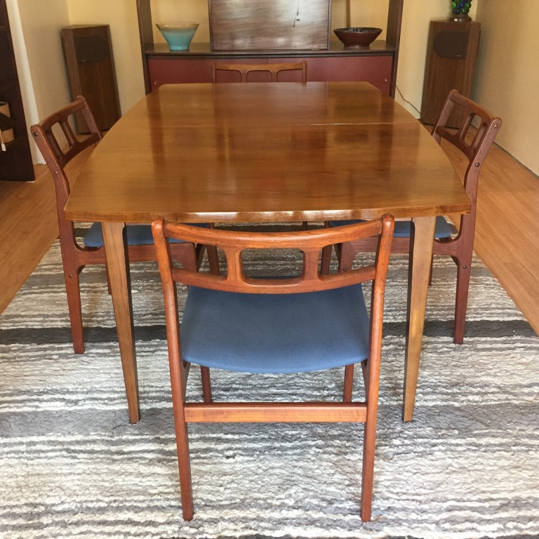 mid century modern walnut dining table with leaves