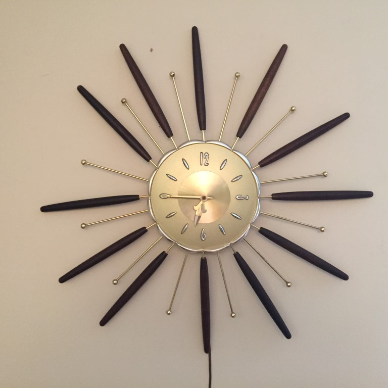 mid century modern starburst walnut brass wall clock