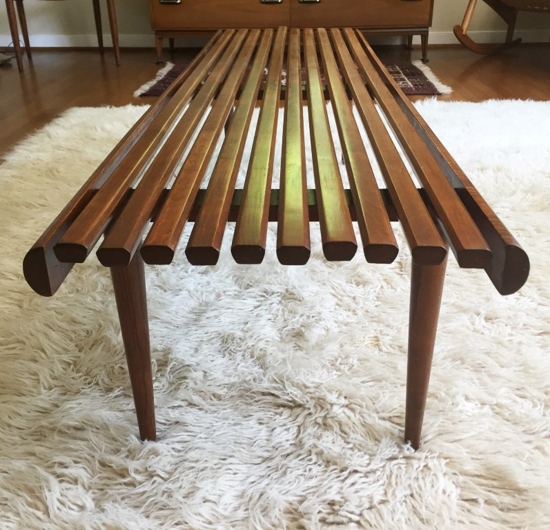 Mid Century modern solid wood slat coffee table