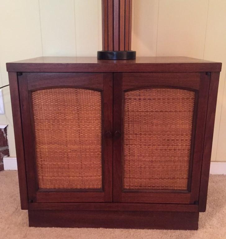 mid century modern walnut rattan nightstand Lane Rhythm