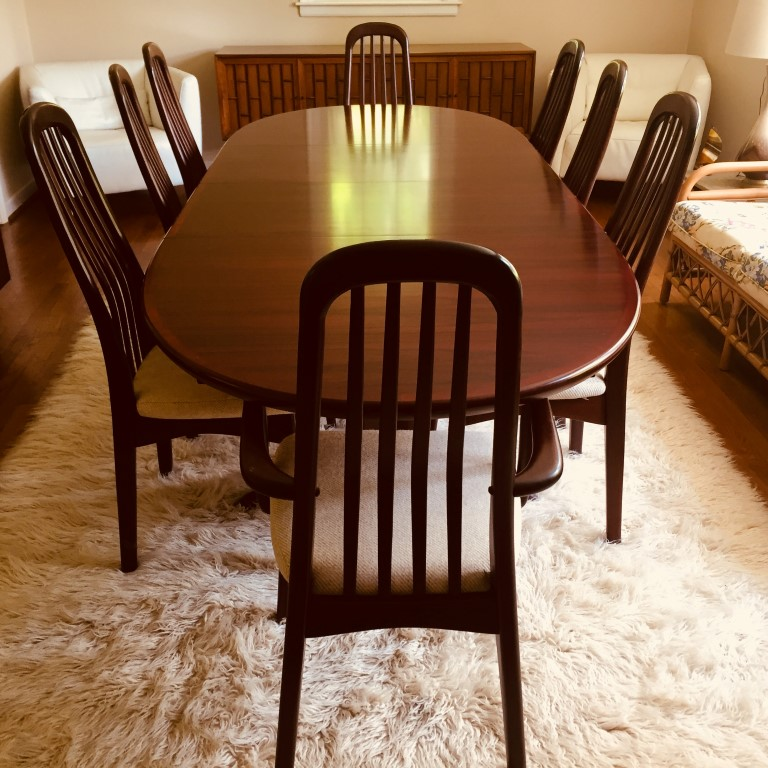 danish modern rosewood dining set