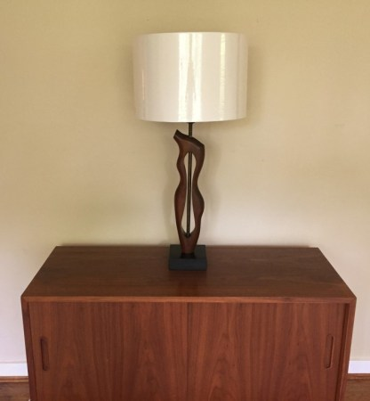 mid century modern sculpted walnut table lamp