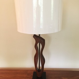 mid century modern sculpted walnut table lamp