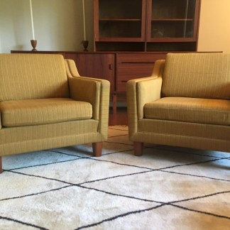 danish modern mid century upholstered lounge chairs