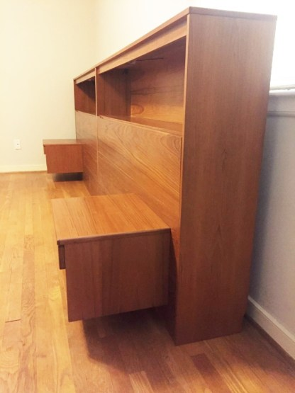 danish modern teak king headboard bookcase, lighting nightstands