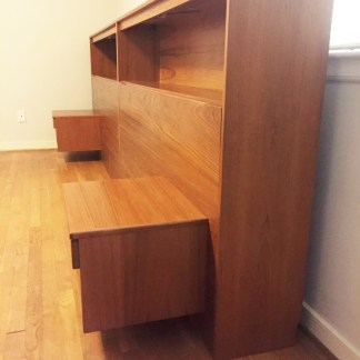 danish modern teak king headboard bookcase, lighting nightstands