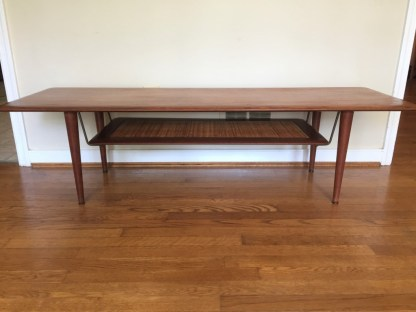mid century modern john stuart coffee table suspended rattan shelf