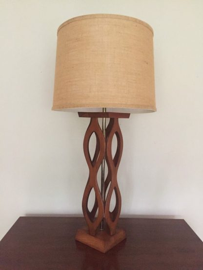 braided sculpted walnut brass table lamp
