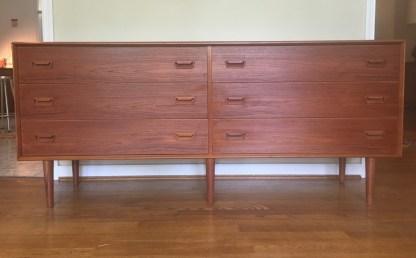 danish modern mid century teak dresser on legs