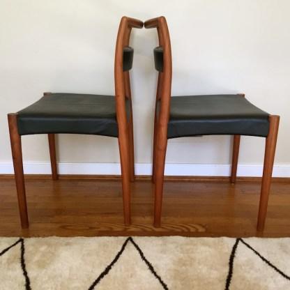 teak danish modern mid century dining set leaf 6 chairs