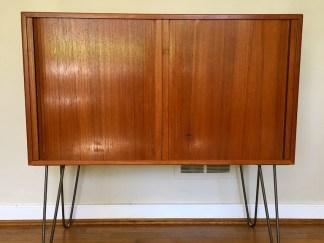 teak tambour door storage record album cabinet mid century modern danish scan
