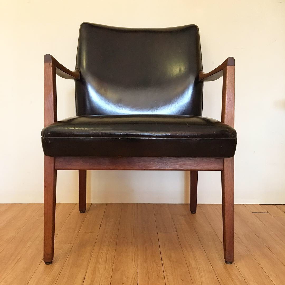 Mid Century Modern Walnut Framed Office Chair With Black Leather Upholstery Epoch