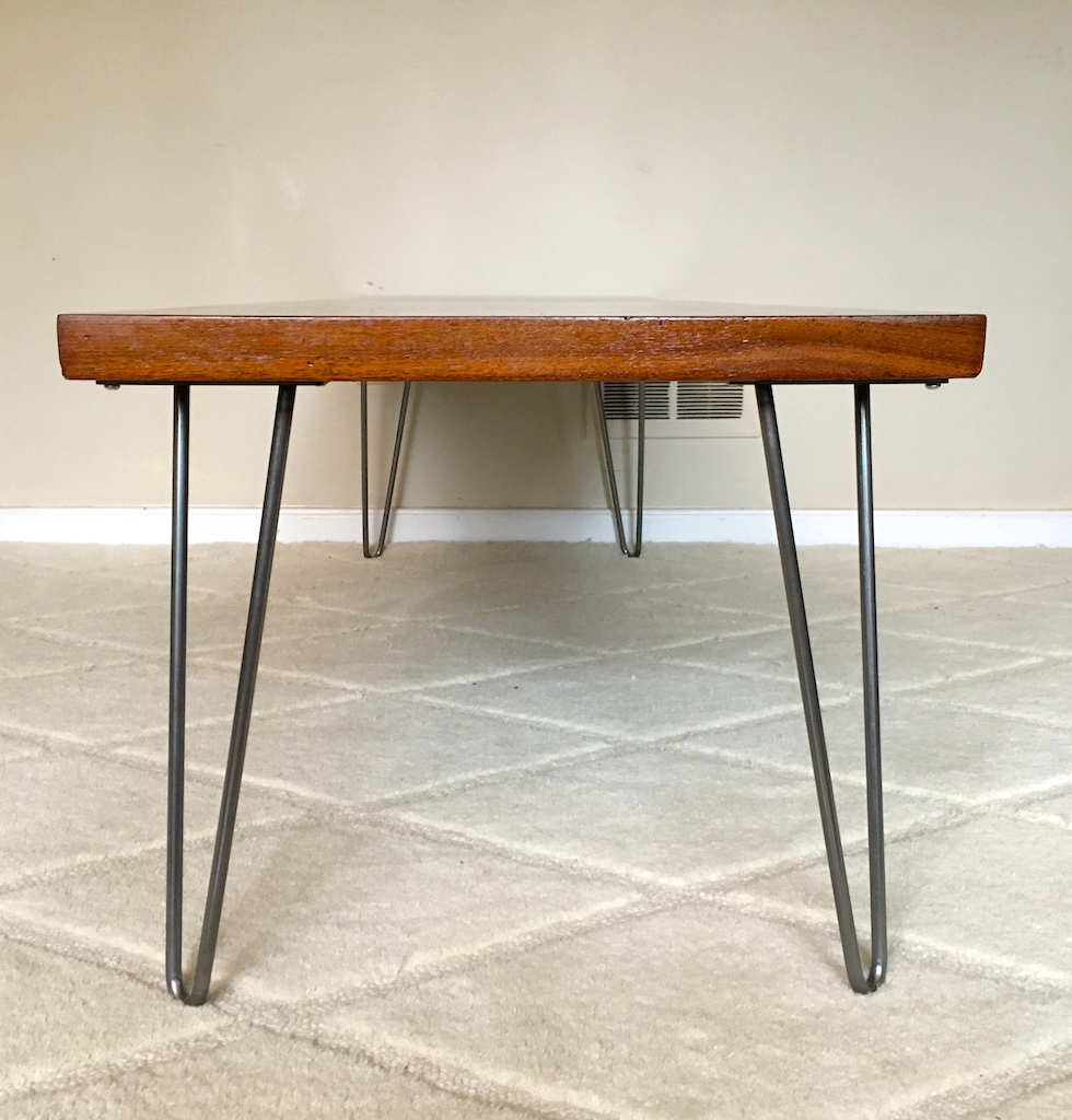 Refinished Aged Walnut Coffee Table On Hairpin Legs