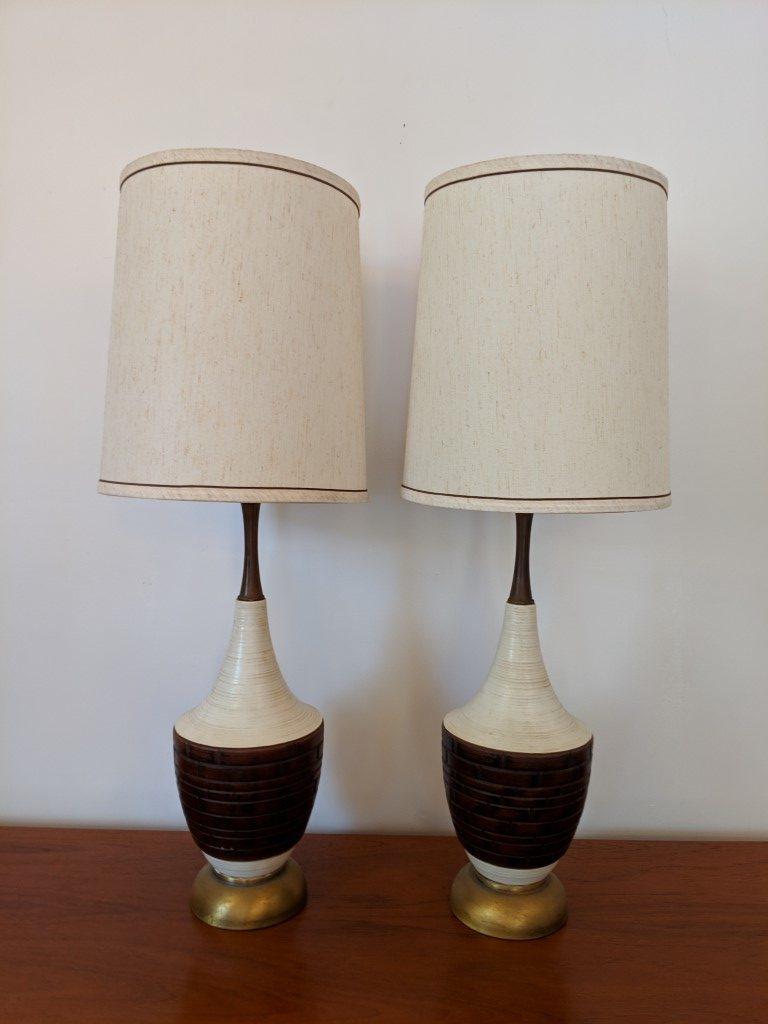 Mid Century Modern White Brown Ceramic Table Lamps Walnut Necks Pair Epoch