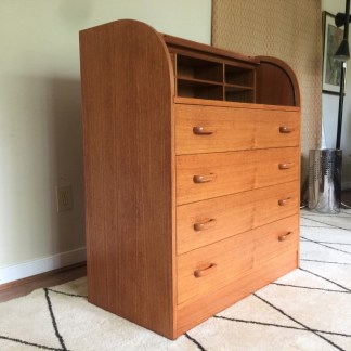 vintage danish modern roll top desk
