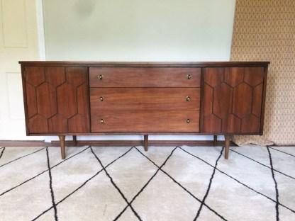 vintage mid century walnut nine drawer dresser