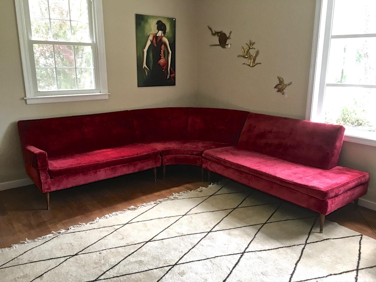 Fine Mid Century Modern Tufted Red Velvet Sectional Sofa Tapered Legs Epoch Spiritservingveterans Wood Chair Design Ideas Spiritservingveteransorg