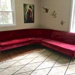 Mid Century Modern Tufted Red Velvet Sectional Sofa Tapered Legs Epoch