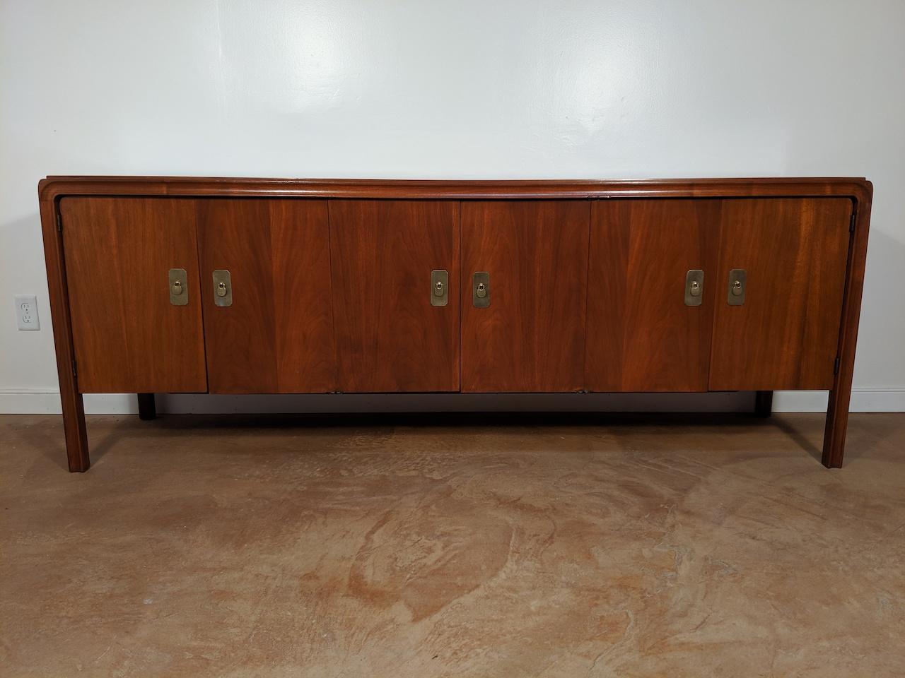 Extra Long Mid Century Modern Walnut Credenza By Craftmaster