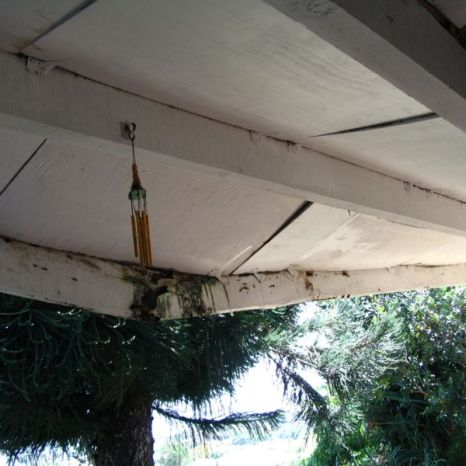 A. Beams have cracked due to termite damage.
