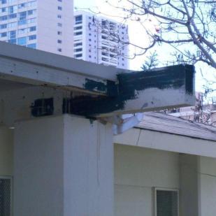 C. Termite damage to fascia beams.
