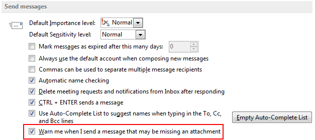 Mail options