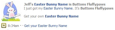 Jeff's Easter Bunny Name is Buttons Fluffypaws