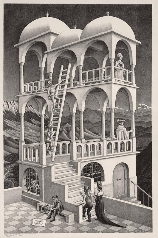 Maurits Cornelis Escher Belvedere Maggio 1958 Litografia, 46,2x29,5 cm Collezione Giudiceandrea Federico All M.C. Escher works © 2016 The M.C. Escher Company. All rights reserved www.mcescher.com