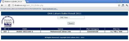 DHA Lahore Ballot Results