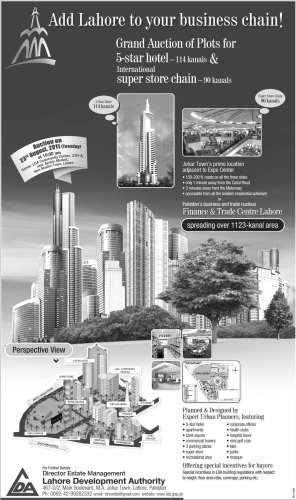 LDA Lahore Finance & Trade Center Plot Auction