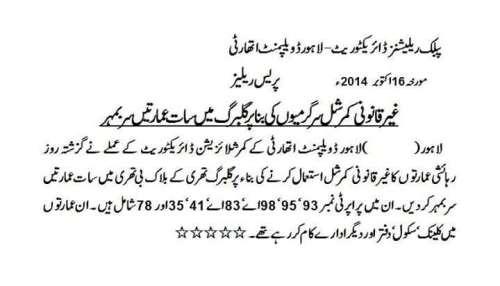 LDA Lahore Sealed Properties in Gulberg