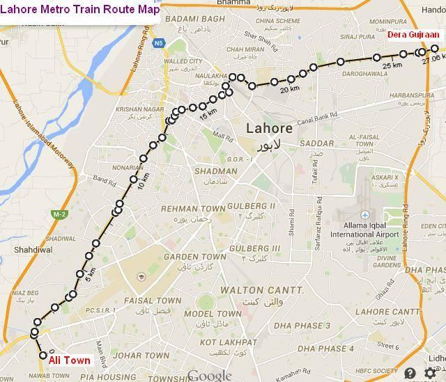 Metro Bus Islamabad: Orange Line Metro Train Lahore Route Map (Final And