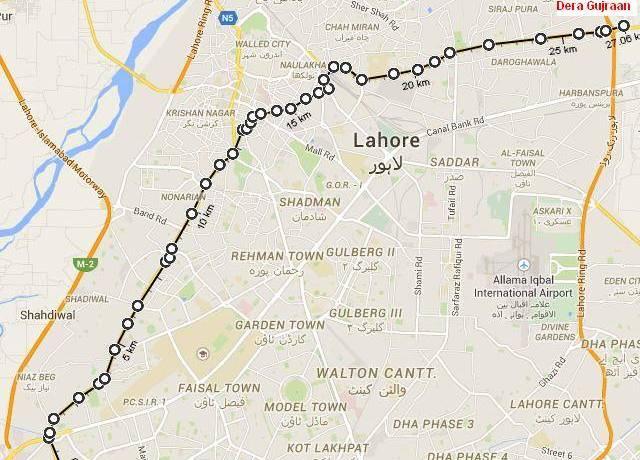 Orange Line Metro Train Lahore Route Map
