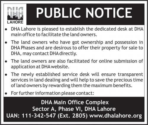 DHA Lahore Established Dedicated Desk for Land Owners