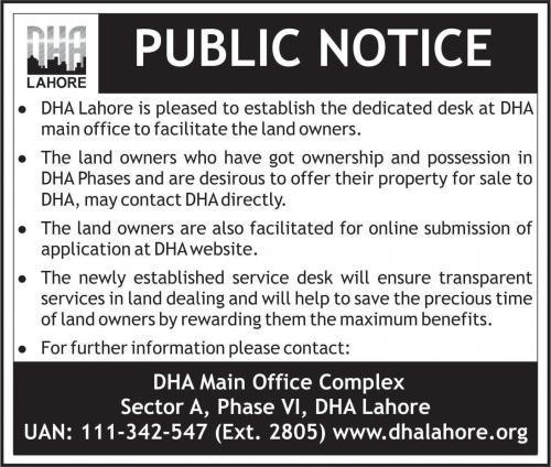 DHA Lahore Established Dedicated Desk for Land Owners