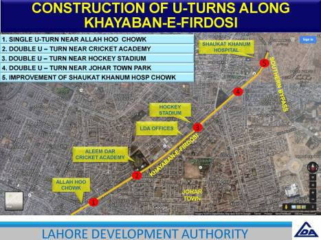 Construction of U Turn Along Khayaban e Firdousi