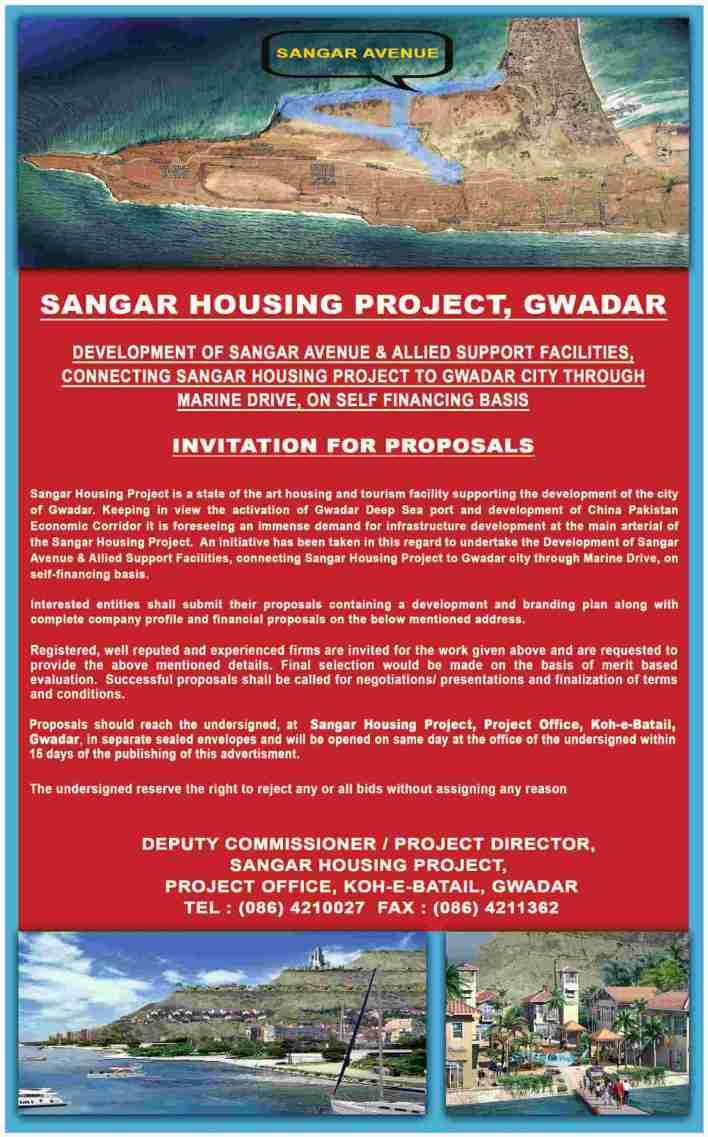 Applications invited for Sangar Avenue Development at Sangar Gwadar