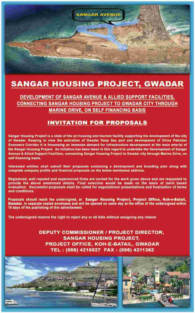Applications invited for Sangar Avenue Development at Sangar Gwadar