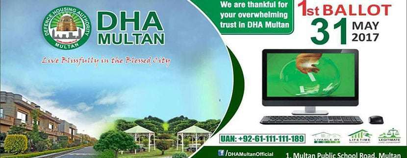 DHA Multan ballot will be held on 31 May, 2017