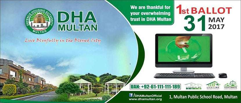 DHA Multan ballot will be held on 31 May, 2017