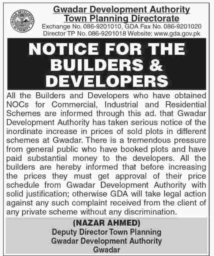 GDA Notice for Builders & Developers