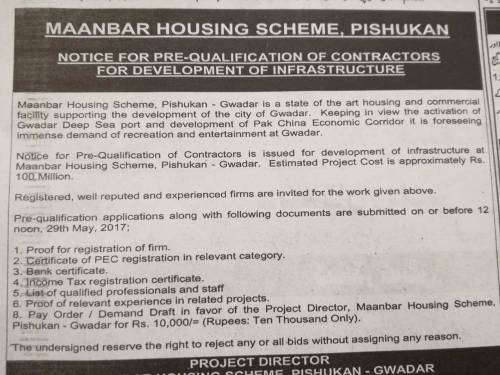 Notice for Prequalification of Contractors for Development of Infrastructure Maanbar Scheme Gwadar
