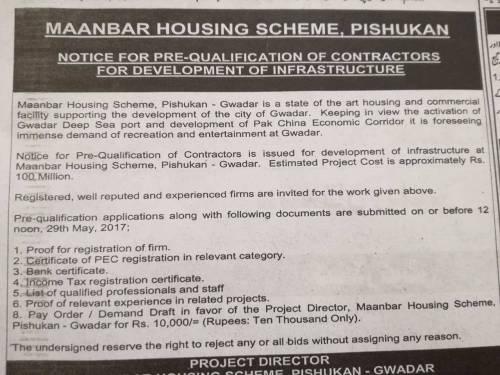 Notice for Prequalification of Contractors for Development of Infrastructure Maanbar Scheme Gwadar
