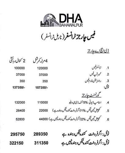DHA Bahawalpur Commercial Plots Transfer Fees Schedule