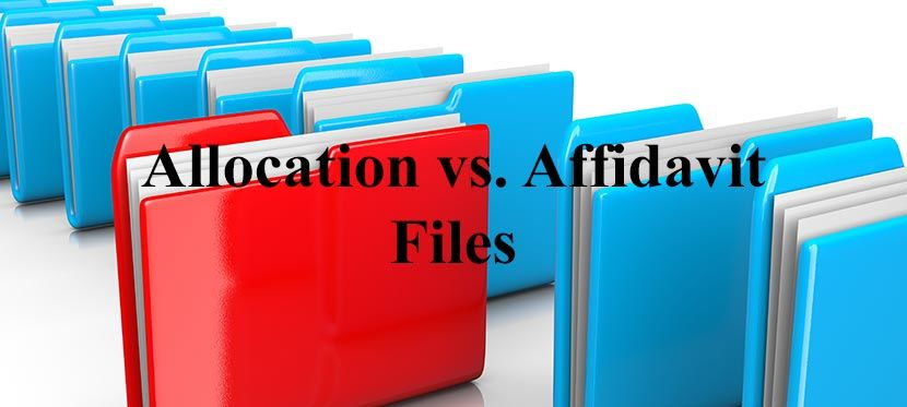 Difference between affidavit and allocation files