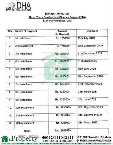 DHA Bahawalpur 12 Marla Villa Development Charges Schedule