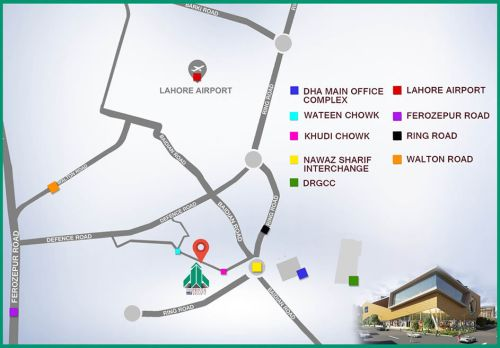 Penta Square DHA Phase 5 Lahore Location Map