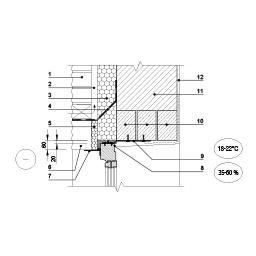 Išorinės sienos su apdailos plytų ekranu ir vėdinamu tarpu jungtis su lango viršumi, epsa.lt, PPA